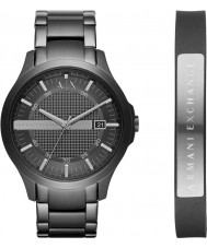 Armani Exchange AX7101 Mens jurk zwarte stalen armband horloge en lederen armband cadeau set