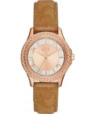 Armani Exchange AX5254 Dames jurk licht bruin nubuck riem horloge