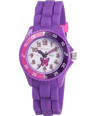 Tikkers TK0041 Meisjes paars tijd leraar vlinder horloge