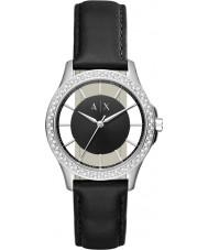 Armani Exchange AX5253 Dames jurk zwart lederen band horloge