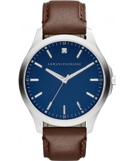 Armani Exchange AX2181 Mannen kleding donker bruin lederen band horloge