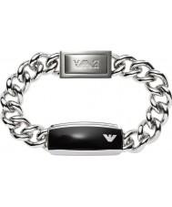 Emporio Armani EGS1729040 Mens handtekening gladde zwarte matte id stalen armband