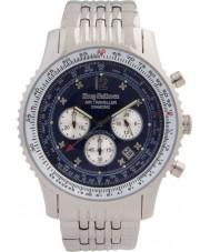 Krug-Baumen 600304DS Mens luchtreiziger diamanten zilveren chronograafhorloge