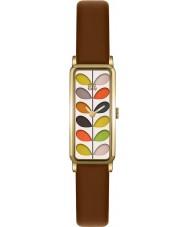 Orla Kiely OK2104 Ladies stam afdruk bruin lederen band horloge