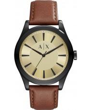 Armani Exchange AX2329 Mens nico donker bruin lederen band horloge