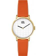 Orla Kiely OK2114 Ladies luna oranje lederen band horloge