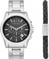 Armani Exchange AX7100 Mens outerbanks zilveren horloge en zwart lederen armband gift set