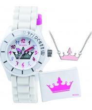 Tikkers ATK1009 Meisjes witte kroon horloge cadeau set met ketting en portemonnee