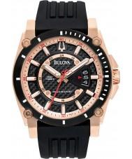 Bulova 98B152 Mens precisionist rose goud zwarte horloge