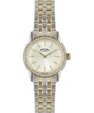 Rotary LB02571-03L Ladies uurwerken verona kristal bezel champagne two tone horloge