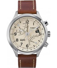 Timex T2N932 Mens cream bruin fly-back chronograaf horloge