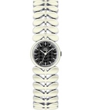 Orla Kiely OK4028 Ladies laurier witte stalen armband horloge