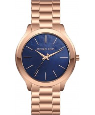 Michael Kors MK3494 Dames slanke landingsbaan rose gouden stalen armband horloge