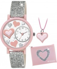 Tikkers ATK1014 Meisjes zilveren glitter hart 3d horloge cadeau set met ketting en portemonnee