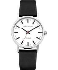 Danish Design Q12Q199 Mens zwart lederen band horloge