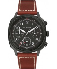 Bulova 98B245 Mens militaire uhf zwart donker bruin chronograaf