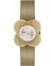 Orla Kiely OK4032 Ladies papaver hoorn geval gouden mesh armband horloge