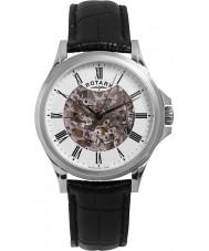 Rotary GS00372-01 Mens zilver zwart skelet automatisch horloge