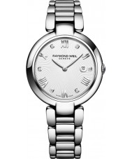 Raymond Weil 1600-ST-00618 Ladies glans zilveren diamanten horloge met zwarte satijnen verwisselbare riem