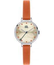 Orla Kiely OK2013 Ladies klimop oranje lederen band horloge