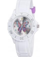 Tikkers TK0052 Meisjes witte glitter vlinder horloge