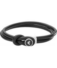Emporio Armani EGS2212040 Mens handtekening zwart lederen armbanden