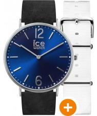 Ice-Watch 001371 Ice-stad exclusieve horloge met wit nylon en zwart lederen riemen