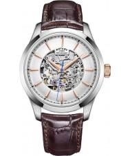 Rotary GS05032-06 Mens zilver tone bruin skelet mechanisch horloge