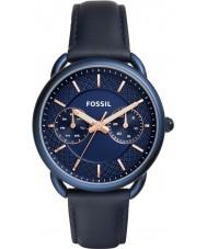 Fossil ES4092 Ladies kleermaker blauwe lederen band horloge