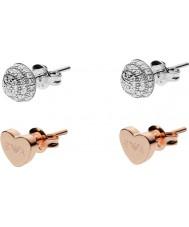 Emporio Armani EG3327040 Dames Stelle zilver en rose gouden set oorbellen