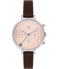 Orla Kiely OK2017 Ladies klimop chronograaf donker bruin lederen band horloge