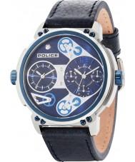Police 14693JSTBL-03 Mens steampunk blauw lederen band horloge