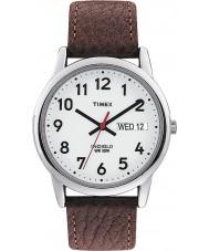 Timex T20041 Mens wit bruin eenvoudig reader horloge