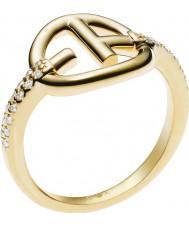 Emporio Armani EG3199710-6.5 Ladies onthulde identiteit ea logo vergulde ring - size m.5