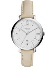 Fossil ES3793 Ladies jacqueline crème lederen band horloge