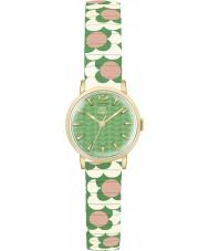 Orla Kiely OK4042 Dames bloem pop roze slagroom groen uitbreiden armband horloge
