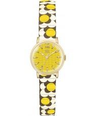Orla Kiely OK4044 Dames bloem pop mosterdcrème bruin uitbreiden armband horloge