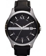 Armani Exchange AX2101 Heren zwart lederen band jurk horloge