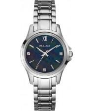 Bulova 96P153 Dames diamant zwarte zilveren horloge