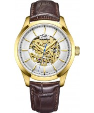 Rotary GS05035-03 Mens vergulde bruine skelet mechanisch horloge