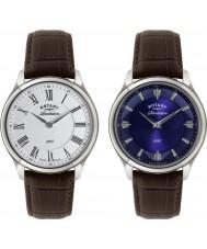 Rotary GS02965-05-21 Mens openbaring bruine lederen band horloge met omkeerbare wijzerplaat