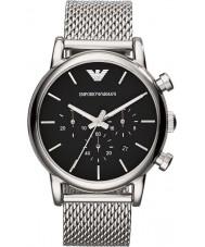 Emporio Armani AR1811 Heren Classic chronograaf zwart zilver gaas armband horloge