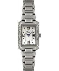 Rotary LB02650-41 Ladies uurwerken crystal bezel witte stalen horloge