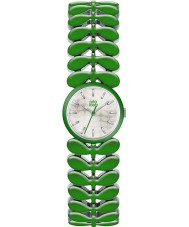 Orla Kiely OK4048 Ladies laurier groene stalen armband horloge