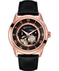 Bulova 97A116 Mens automatische zwart lederen band horloge