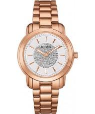 Bulova 97L147 Ladies rose goud kristal horloge