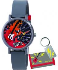 Tikkers ATK1015 Jongens 3d 'rock' horloge cadeau set met portemonnee en sleutelhanger