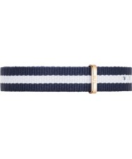 Daniel Wellington DW00200066 Ladies classy Glasgow 26mm rose goud blauw en wit nylon reserveonderdelen riem