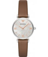 Emporio Armani AR1988 Dames jurk licht bruin lederen band horloge