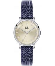 Orla Kiely OK2025 Ladies patricia stam druk marine lederen band horloge